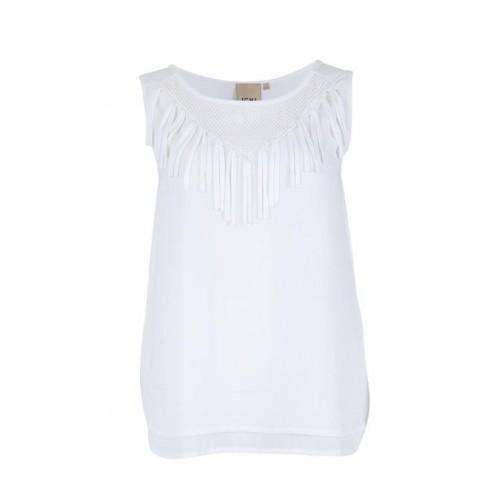 blusa blanca flecos de ichi