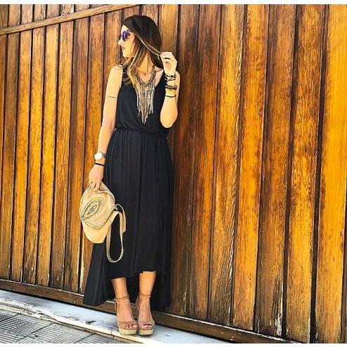 Vestido negro asimetrico largo de moda mujer de la marca ichi