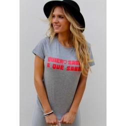 Camiseta Gris Quiero Saber a qué Sabes