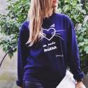 Sudadera con mucho miau azul de karolina toledo moda mujer online