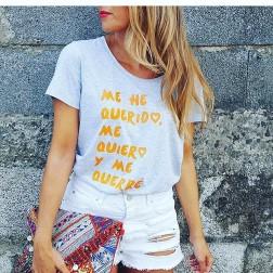 Camiseta Gris  Me he querido... de Karolina Toledo