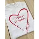 camiseta blanca corazon te quiero y te requiero